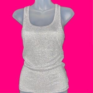 American Eagle Sparkly Silver Tank Top Medium